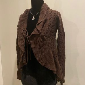 Open front waterfall knit look cardigan